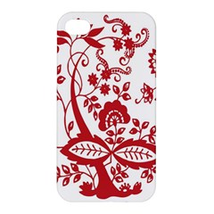 Red Vintage Floral Flowers Decorative Pattern Clipart Apple Iphone 4/4s Premium Hardshell Case by Simbadda