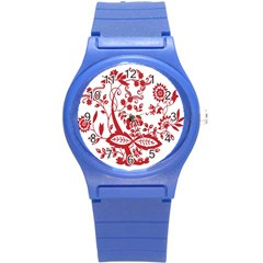 Red Vintage Floral Flowers Decorative Pattern Clipart Round Plastic Sport Watch (s) by Simbadda