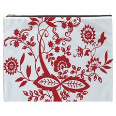 Red Vintage Floral Flowers Decorative Pattern Clipart Cosmetic Bag (xxxl)  by Simbadda