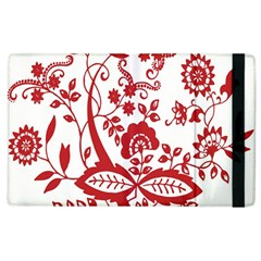 Red Vintage Floral Flowers Decorative Pattern Clipart Apple Ipad 3/4 Flip Case by Simbadda