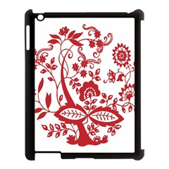 Red Vintage Floral Flowers Decorative Pattern Clipart Apple Ipad 3/4 Case (black) by Simbadda