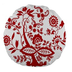 Red Vintage Floral Flowers Decorative Pattern Clipart Large 18  Premium Round Cushions by Simbadda