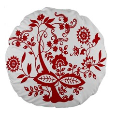 Red Vintage Floral Flowers Decorative Pattern Clipart Large 18  Premium Flano Round Cushions by Simbadda