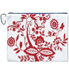 Red Vintage Floral Flowers Decorative Pattern Clipart Canvas Cosmetic Bag (XXXL) by Simbadda