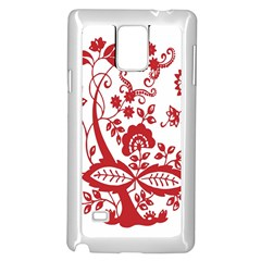Red Vintage Floral Flowers Decorative Pattern Clipart Samsung Galaxy Note 4 Case (white) by Simbadda