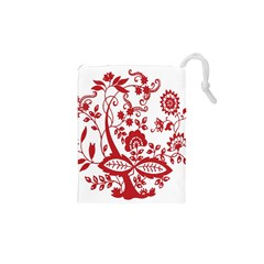 Red Vintage Floral Flowers Decorative Pattern Clipart Drawstring Pouches (XS)  by Simbadda