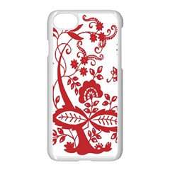 Red Vintage Floral Flowers Decorative Pattern Clipart Apple Iphone 7 Seamless Case (white) by Simbadda