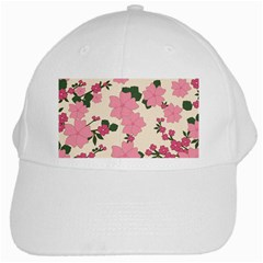 Vintage Floral Wallpaper Background In Shades Of Pink White Cap by Simbadda
