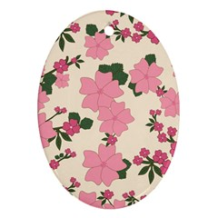 Vintage Floral Wallpaper Background In Shades Of Pink Ornament (oval) by Simbadda