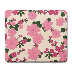 Vintage Floral Wallpaper Background In Shades Of Pink Large Mousepads by Simbadda