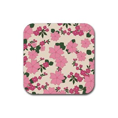 Vintage Floral Wallpaper Background In Shades Of Pink Rubber Square Coaster (4 Pack)  by Simbadda