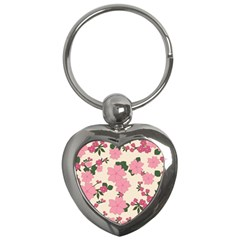 Vintage Floral Wallpaper Background In Shades Of Pink Key Chains (heart)  by Simbadda