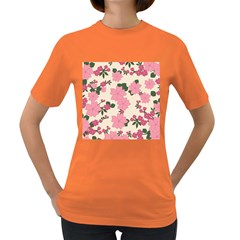 Vintage Floral Wallpaper Background In Shades Of Pink Women s Dark T Shirt by Simbadda
