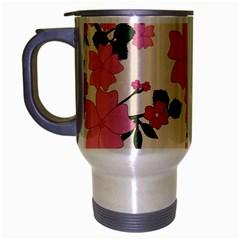 Vintage Floral Wallpaper Background In Shades Of Pink Travel Mug (silver Gray) by Simbadda