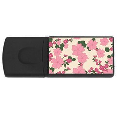 Vintage Floral Wallpaper Background In Shades Of Pink Usb Flash Drive Rectangular (4 Gb) by Simbadda