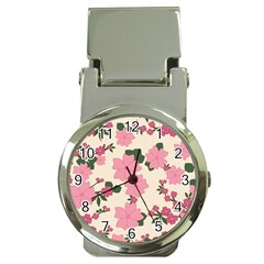 Vintage Floral Wallpaper Background In Shades Of Pink Money Clip Watches by Simbadda
