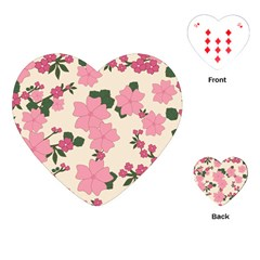 Vintage Floral Wallpaper Background In Shades Of Pink Playing Cards (heart)  by Simbadda