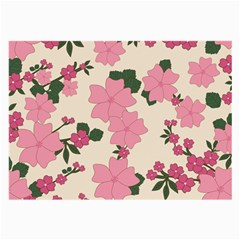 Vintage Floral Wallpaper Background In Shades Of Pink Large Glasses Cloth (2 Side) by Simbadda