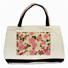 Vintage Floral Wallpaper Background In Shades Of Pink Basic Tote Bag (two Sides) by Simbadda