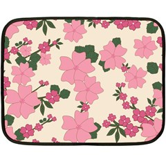 Vintage Floral Wallpaper Background In Shades Of Pink Double Sided Fleece Blanket (mini)  by Simbadda