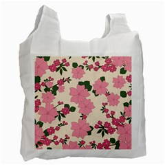 Vintage Floral Wallpaper Background In Shades Of Pink Recycle Bag (one Side) by Simbadda