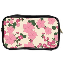 Vintage Floral Wallpaper Background In Shades Of Pink Toiletries Bags by Simbadda