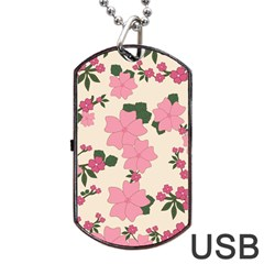 Vintage Floral Wallpaper Background In Shades Of Pink Dog Tag Usb Flash (two Sides) by Simbadda