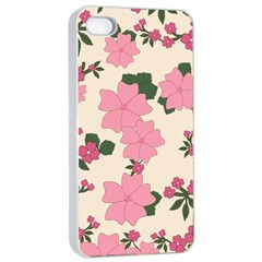 Vintage Floral Wallpaper Background In Shades Of Pink Apple Iphone 4/4s Seamless Case (white) by Simbadda