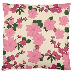 Vintage Floral Wallpaper Background In Shades Of Pink Large Cushion Case (two Sides) by Simbadda
