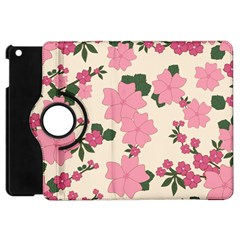 Vintage Floral Wallpaper Background In Shades Of Pink Apple Ipad Mini Flip 360 Case by Simbadda