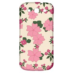 Vintage Floral Wallpaper Background In Shades Of Pink Samsung Galaxy S3 S Iii Classic Hardshell Back Case by Simbadda