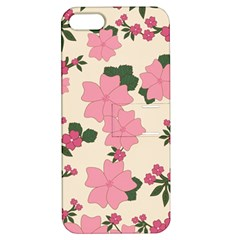 Vintage Floral Wallpaper Background In Shades Of Pink Apple Iphone 5 Hardshell Case With Stand by Simbadda