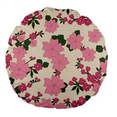 Vintage Floral Wallpaper Background In Shades Of Pink Large 18  Premium Flano Round Cushions by Simbadda