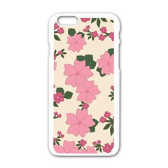 Vintage Floral Wallpaper Background In Shades Of Pink Apple Iphone 6/6s White Enamel Case by Simbadda