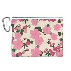 Vintage Floral Wallpaper Background In Shades Of Pink Canvas Cosmetic Bag (l) by Simbadda