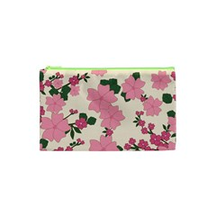 Vintage Floral Wallpaper Background In Shades Of Pink Cosmetic Bag (xs) by Simbadda
