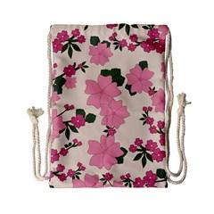 Vintage Floral Wallpaper Background In Shades Of Pink Drawstring Bag (small) by Simbadda