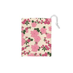 Vintage Floral Wallpaper Background In Shades Of Pink Drawstring Pouches (xs)  by Simbadda