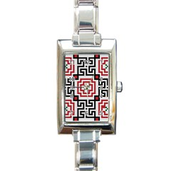 Vintage Style Seamless Black White And Red Tile Pattern Wallpaper Background Rectangle Italian Charm Watch by Simbadda