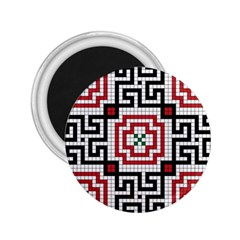 Vintage Style Seamless Black White And Red Tile Pattern Wallpaper Background 2 25  Magnets by Simbadda