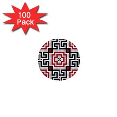 Vintage Style Seamless Black White And Red Tile Pattern Wallpaper Background 1  Mini Buttons (100 Pack)  by Simbadda