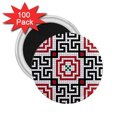 Vintage Style Seamless Black White And Red Tile Pattern Wallpaper Background 2 25  Magnets (100 Pack)  by Simbadda