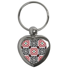 Vintage Style Seamless Black White And Red Tile Pattern Wallpaper Background Key Chains (heart)  by Simbadda
