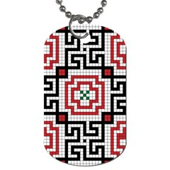 Vintage Style Seamless Black White And Red Tile Pattern Wallpaper Background Dog Tag (one Side) by Simbadda