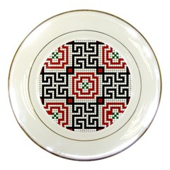 Vintage Style Seamless Black White And Red Tile Pattern Wallpaper Background Porcelain Plates by Simbadda