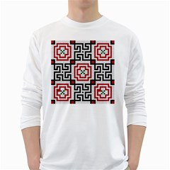 Vintage Style Seamless Black White And Red Tile Pattern Wallpaper Background White Long Sleeve T Shirts by Simbadda