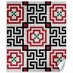 Vintage Style Seamless Black White And Red Tile Pattern Wallpaper Background Canvas 8  X 10  by Simbadda
