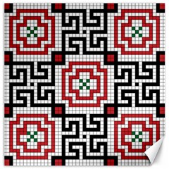 Vintage Style Seamless Black White And Red Tile Pattern Wallpaper Background Canvas 16  X 16   by Simbadda