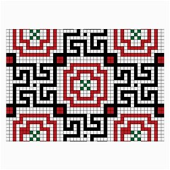 Vintage Style Seamless Black White And Red Tile Pattern Wallpaper Background Large Glasses Cloth (2 Side) by Simbadda