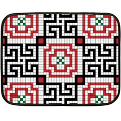 Vintage Style Seamless Black White And Red Tile Pattern Wallpaper Background Fleece Blanket (mini) by Simbadda